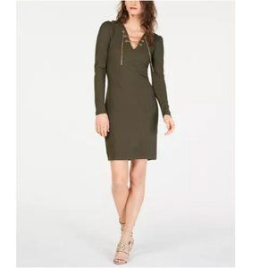 MK Ribbed Chain Lace up Sweater Dress Ivy Green